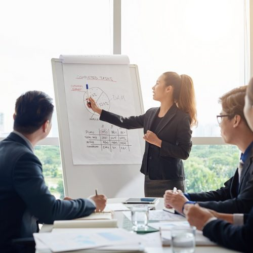 Attractive Asian businesswoman with ponytail pointing at diagram on marker board while holding working meeting in spacious boardroom